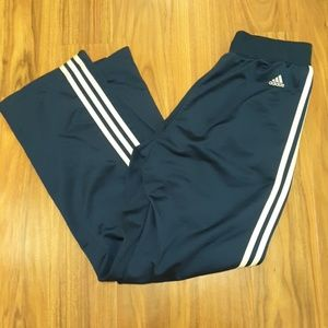 Navy blue Adidas joggers w/white stripes